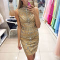 High Neck Beading Cocktail Dresses 2017 New Short Sheath Party Dress Mini Formal Gown Robe de Cocktail Attractive