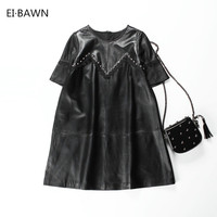 2018 Wome Spring Leather Dress Elegant Black Sexy Plus Size Loose Clothes Casual A line Leather Lace Vintage Office Clothing