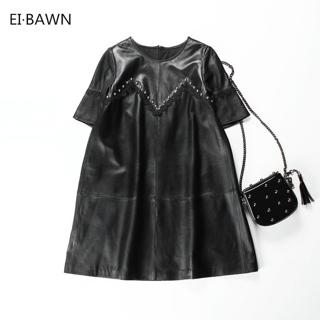 2018 Women Genuine Leather Dress Elegant Black Sexy Plus Size Loose Clothes Casual A-line Leather Lace Vintage Office Clothing