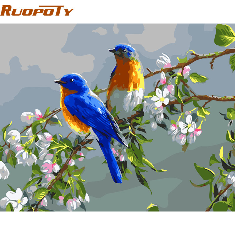 RUOPOTY Frame Blue Birds DIY Painting By Numbers Modern Wall Art Picture Paint By Numbers Kits For Home Decor Arts Box Gift
