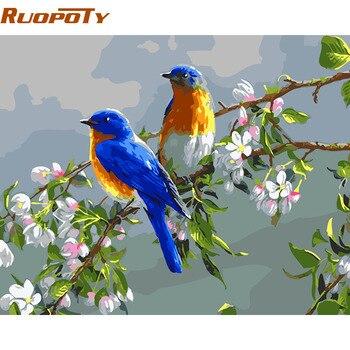 RUOPOTY Khung Màu Xanh Birds DIY Tranh By Numbers Tường Nghệ Thuật Hiện Đại ảnh Sơn Bởi Số Bộ Dụng Cụ Đối Với Trang Chủ Nghệ Thuật Trang Trí Hộp Quà Tặng