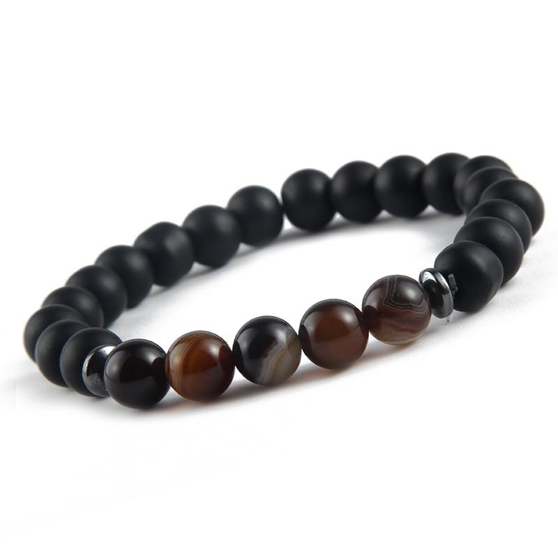 Natural Stone Multiple Style Beaded Bracelet For Women Men Elastic Matte Vintage Beads Bangle Jewelry 1Pcs