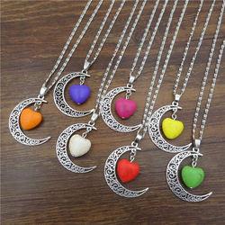 XUSHUI XJ mode Coeur Collier Antique Argent croissant de Lune Pendentif déclaration Bijoux Chaîne collier Femmes Cadeau
