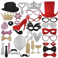 PBPBOX 36pcs DIY Glasses Moustache Red Lips Bow Ties On Sticks Wedding Birthday Party Photo Booth