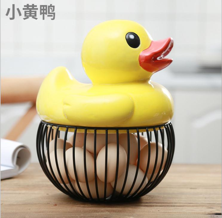 Coquetier en céramique poulet fil oeuf panier fruits panier collection créative céramique poule oraments décoration cuisine accessoires