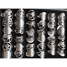 36 قطعة/الوحدة الفضة اللون Unibody تصميم الفولاذ المقاوم للصدأ خواتم أنماط فريدة من نوعها كما فراشة ، ساعة الاتصال الهاتفي ، القلب ، الخ.