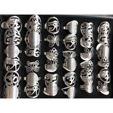 36 unids/lote anillos de acero inoxidable con diseño de Unibody de Color plateado patrones únicos como mariposa, esfera de reloj, corazón, Etc.