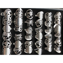 36 шт./лот Серебристые дизайнерские кольца из нержавеющей стали с цельным корпусом, уникальные узоры как бабочка, циферблат часов, сердце и т. д.
