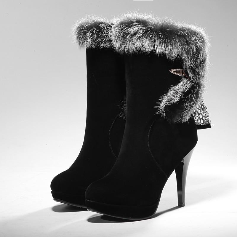 ФОТО ARMOIRE Winter Hot Luxury Sexy Black Women Martin Mid Calf  Rabbit Furry Boots Ladies Dress Shoes Super High Heels A16-33