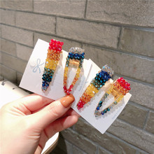 Crystal Rainbow  Multicolor Geometric Hair Clips For Girls Alloy Accessories Hairpins Barrette Colorful Hairgrips