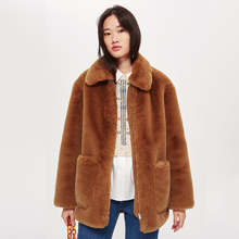 Elegant Faux Fur Brown Coat