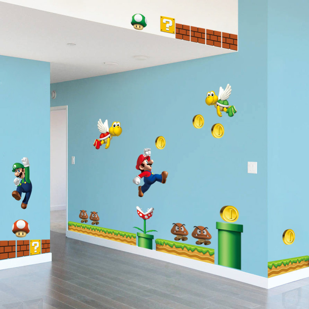On sale new super mario bros pvc wall sticker decals home for Home decorations on sale