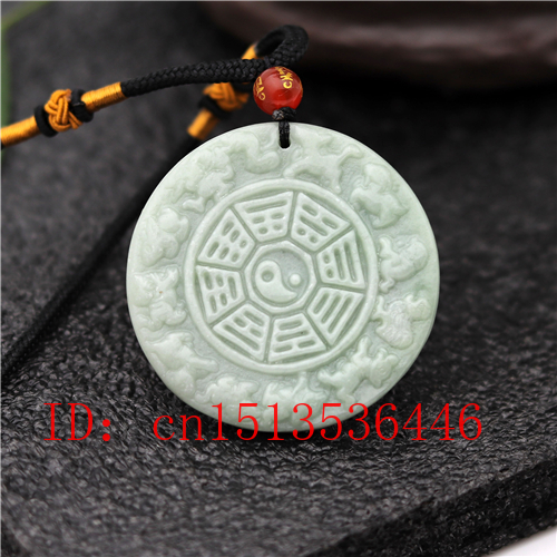 Natural Chinese Zodiac Carved Jade Pendant White Green Tai Chi Gossip Necklace Charm Jewellery Fashion Lucky Amulet Gifts