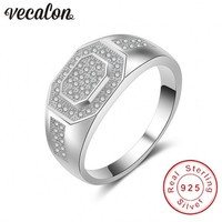 Vecalon Jewelry Wedding Band Ring For Men Pave Set Diamonique Cz 925 Sterling Silver Male Engagement