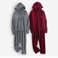 100%cashmere add thick women's hooded sweatshirts casual suits drawstring coat pant 2pcs/set wholesale retail M/L/XL
