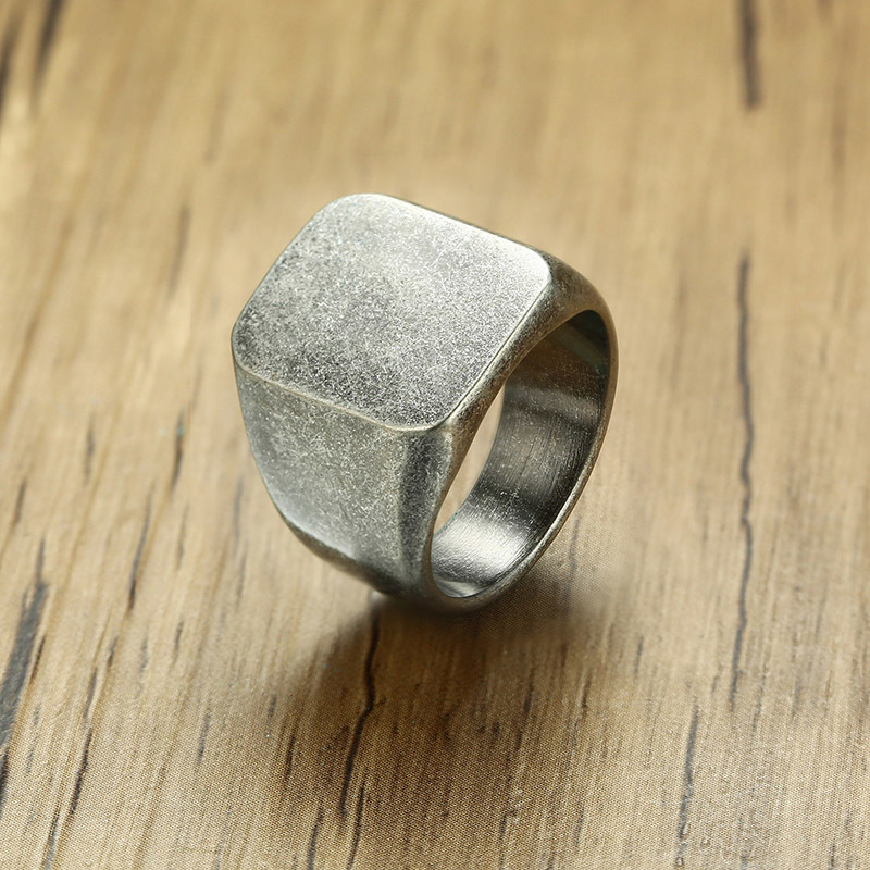 Oxidized Silver Tone Square Plain Signet Ring for Men Jewelry Rustic Flat Top Hallmarked Pinky Band Male Jewellery Anel Aneis
