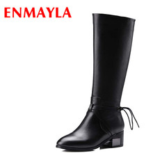 Airfour New High Heels Classic Black Shoes Woman Winter Boots Size 34-39 Slip-on Riding Mid-calf Platform
