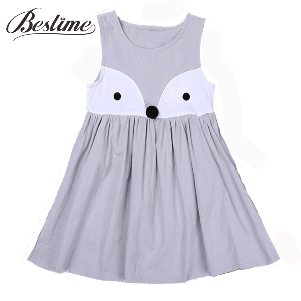 Girl Dress Kids Cotton Chidren Fashion Sleeveless Summer Cartoon Vest Fox-Print Casual