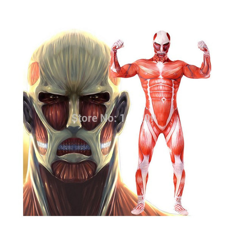 Attack On Titan Cosplay Costume Colossal Muscle Zentai Suit Lycra ...