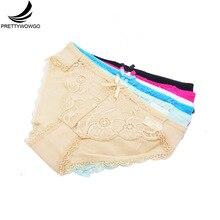 Prettywowgo 6 pcs/lot New Arrival 2019 Sexy Women Transparent Lace Cotton Briefs Panties 9329