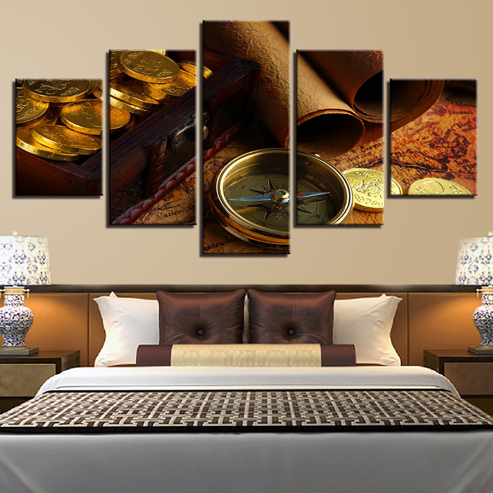 US $9 87 49% OFF|HD Print Home Decor 5 Piece Wall Art Compass Coin Map  Picture Living Room Art Canvas Painting Modern Poster-in Painting &  Calligraphy