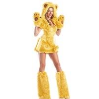 Sexy Women Yellow Bear Costume Adult Animal Costume Furry Teddy Bear Role Play Fancy Dress Costume