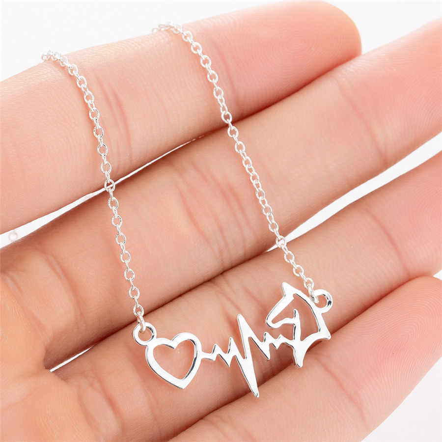 yiustar Electrocardiogram ECG Horse Head Pendant Necklaces For Women Stainless Steel Necklaces Fashion Jewelry Chain Choker