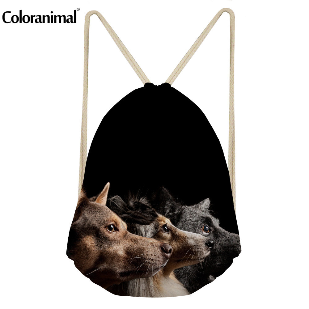 Coloranimal 2018 New Design Women Mini Drawstring Bag School Mini Backpack Cute Puppy Dog Greyhound Print Men's String Rucksack