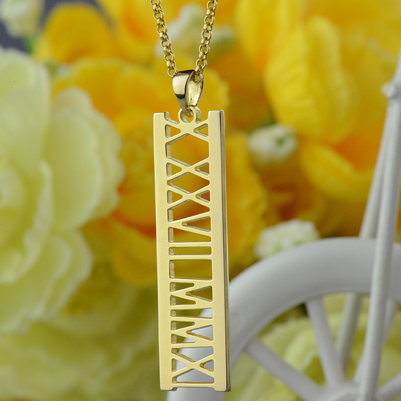 necklace personalized gold pendant necklaces for bar custom date rose statement pendants free women colo jewelry diy name qitian item from color in engraved