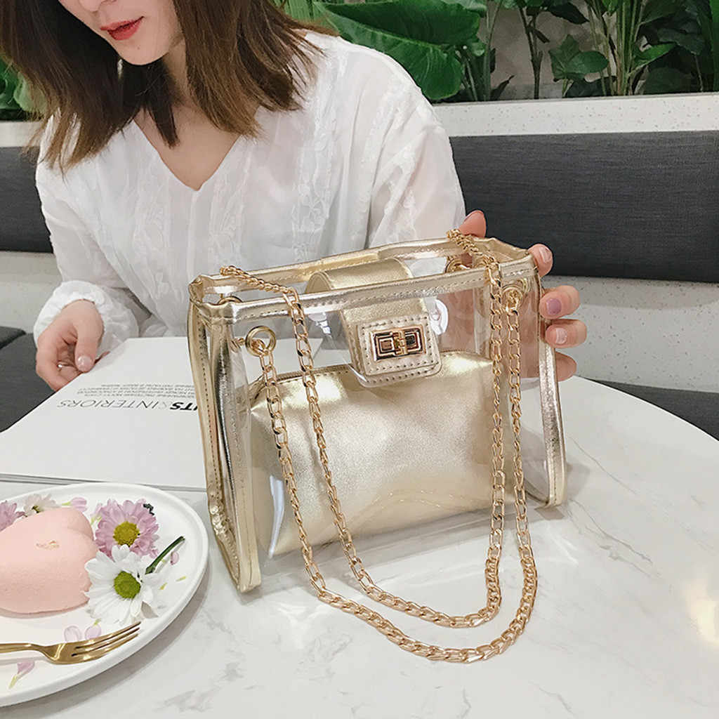 2019 Summer Fashion New Handbag High quality PVC Transparent Women bag Holographic Square Phone bag Chain Shoulder bag#K20