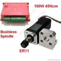 Brushless Spindle er11 100W 45Ncm DC24V Brushless Spindle 42mm Motor Driver kit w/ Mounting Bracket Collets Match MACH3