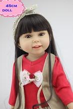 Pelo lacio Chica Americana Muñeca De Vinilo Completos Sobre 18 pulgadas Realistas Bebés Reborn Boneca Juguetes Para niños mejor Compañero de Juegos