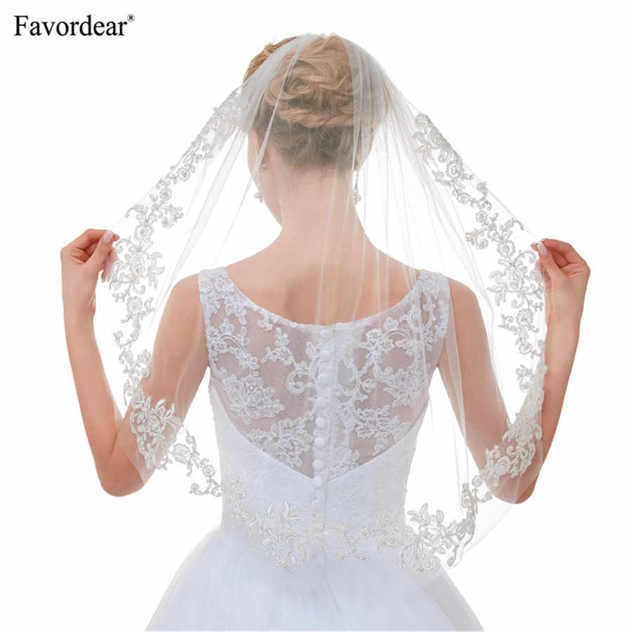Favordear Hot Sale 2018 New Arrival Top End Soft Tulle Top End Lace Veils For brides Velo De Novia White Ivory Single Layer Veil