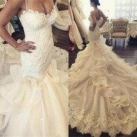 Высокое качество свадебное платье 2017 Милая Аппликация Кружева Тюль, органза свадебное платье es Русалка платье