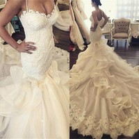 High Quality Wedding Dress 2017 Sweetheart Appliqued Lace Organza Tulle Wedding Dresses Mermaid Gown