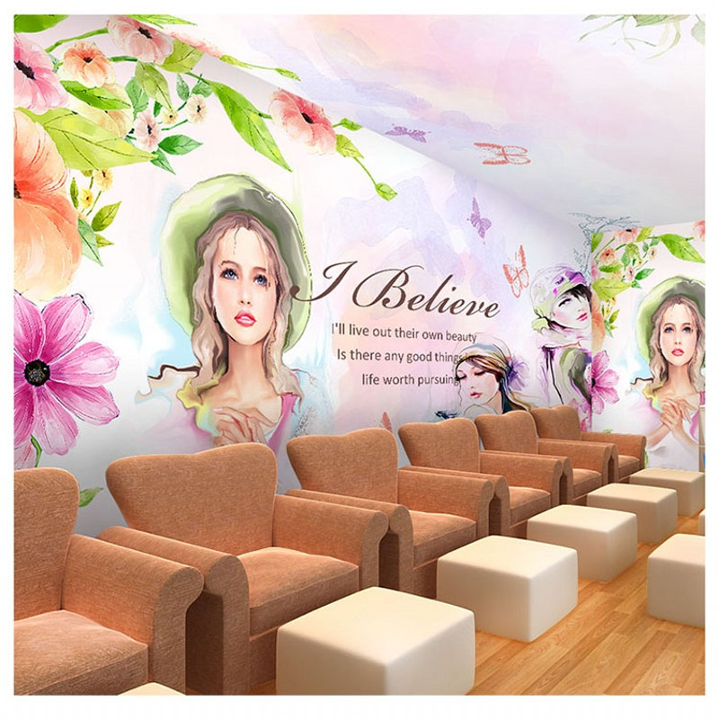 Custom photo wallpaper Nail cosmetics beauty salon studio mural painting 3d people girl watercolor dance music room wallpaper бра mantra paola painted silver 3537