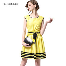 1d70bfebc32 BURDULLY Casual Yellow Dress For Women Summer 2018 Sexy Female Party Plus  Size Dresses Elegant Sleeveless Dress A line Fashion