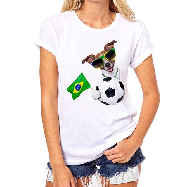 9939bec0e 2017 Moda Engraçado Kawaii Animal Brasil Copa Do Mundo camisa Do Cão T Mulher  Blusas Femininas