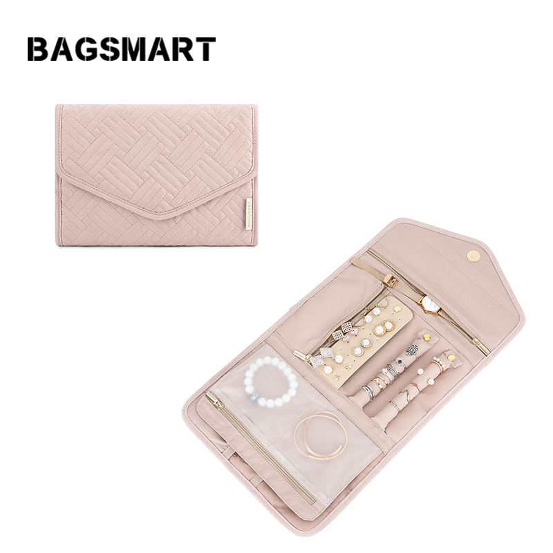 Black bagsmart Travel Jewelry Organizer Case Portable Double Layer PU Leather Jewelry Organizer Roll for Journey-Rings Earrings Necklaces Bracelets