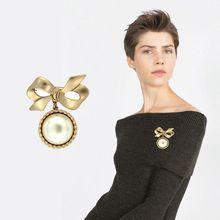 2018 nueva moda clásica Yaguang arco de oro, gran perla chica spot set broche.