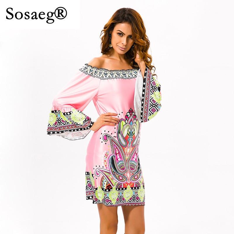 Sosaeg Women Summer European American Wind Printing Dresses A Single Word Collar Beach Party Long Above Knee, Mini Spring