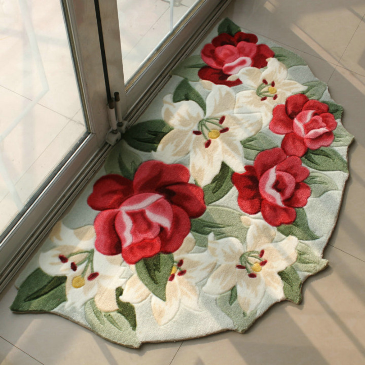 Woven color printing print floor mats bedroom floor mats import doormat semi-cirle mats 45cm*75cm