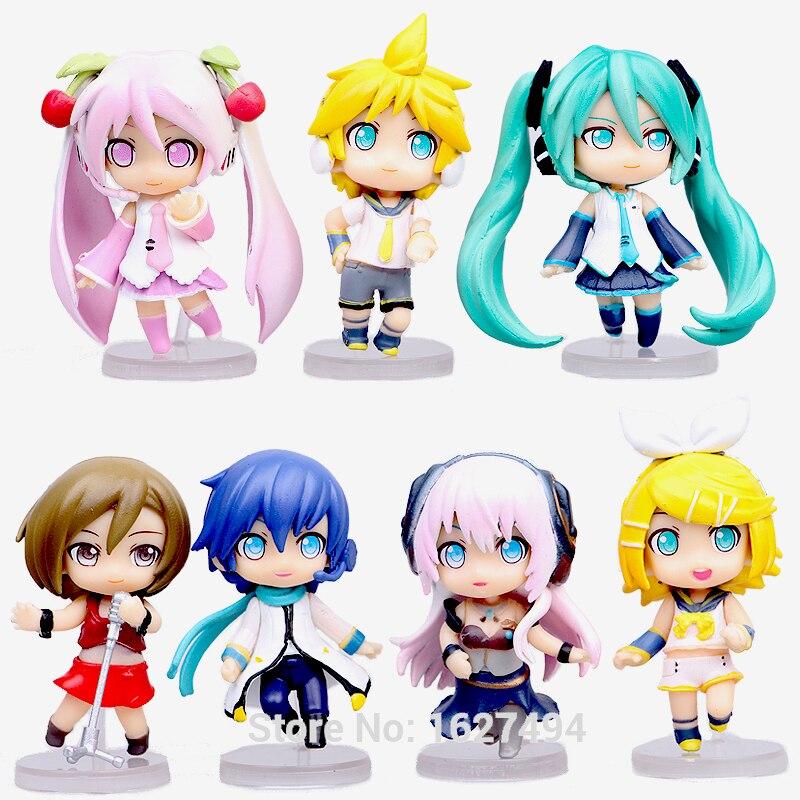 Hatsune Miku <font><b>Meiko</b></font> Kagamine Rin/Ren Luka Haku Kaito Cosplay PVC <font><b>Action</b></font> <font><b>Figures</b></font> <font><b>VOCALOID</b></font> Anime Figurines Dolls Kids Toys 7pcs
