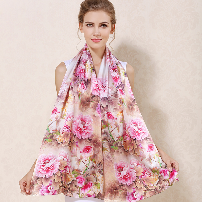 CJ17552 Wholesale Women Scarves 100% silk High-Grade Ladies Scarf Silk Shawl