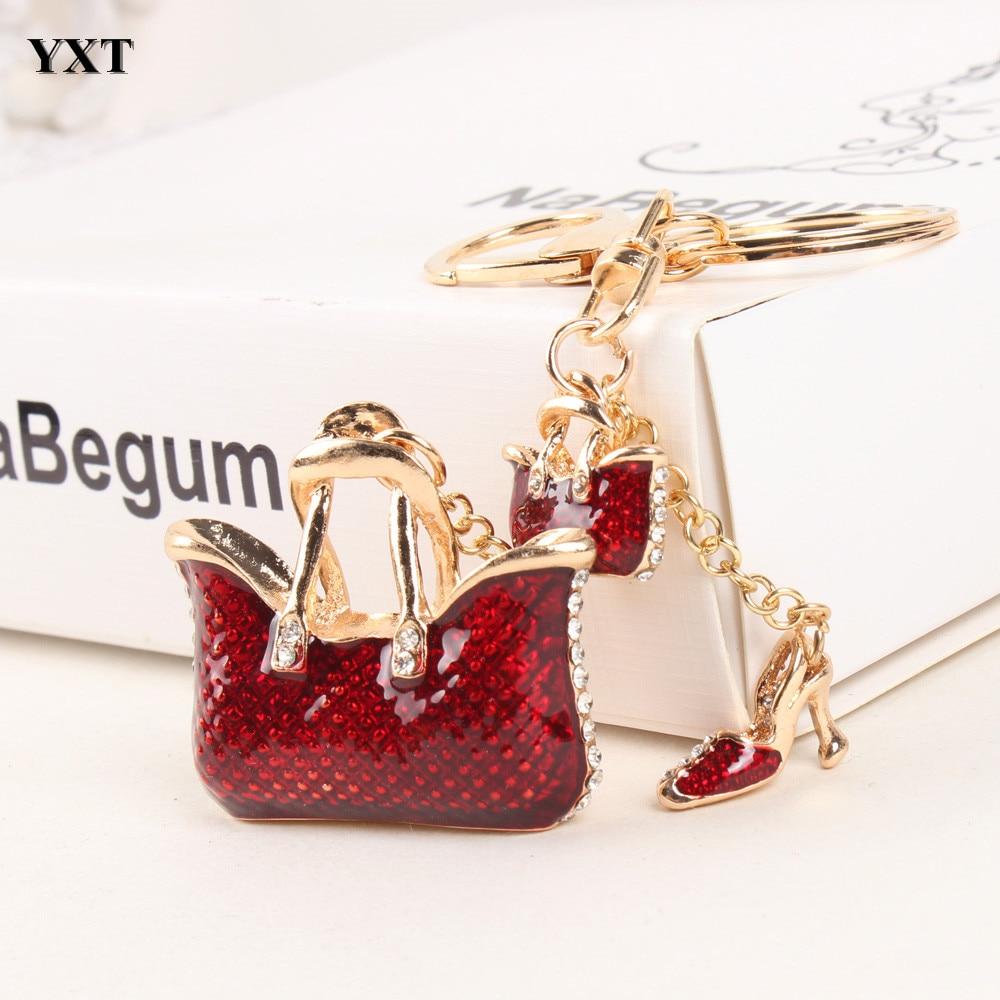 두 개의 빨간 핸드백 하이힐 구두 새로운 패션 귀여운 라인 석 크리스탈 자동차 지갑 열쇠 고리 체인 쥬얼리 훌륭한 섬세한 선물