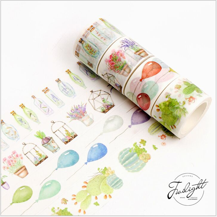 Sweet Donut Wish Bottles Greenhouse Balloon Cactus Camera Decoration Washi Tape DIY Planner Diary Scrapbook Masking Tape Escolar