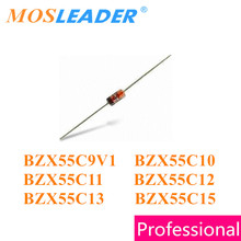 Mosleader 1000PCS DO35 BZX55C Series BZX55C9V1 9.1V BZX55C10 10V BZX55C11 11V BZX55C12 12V BZX55C13 13V BZX55C15 15V 1/2W Zener