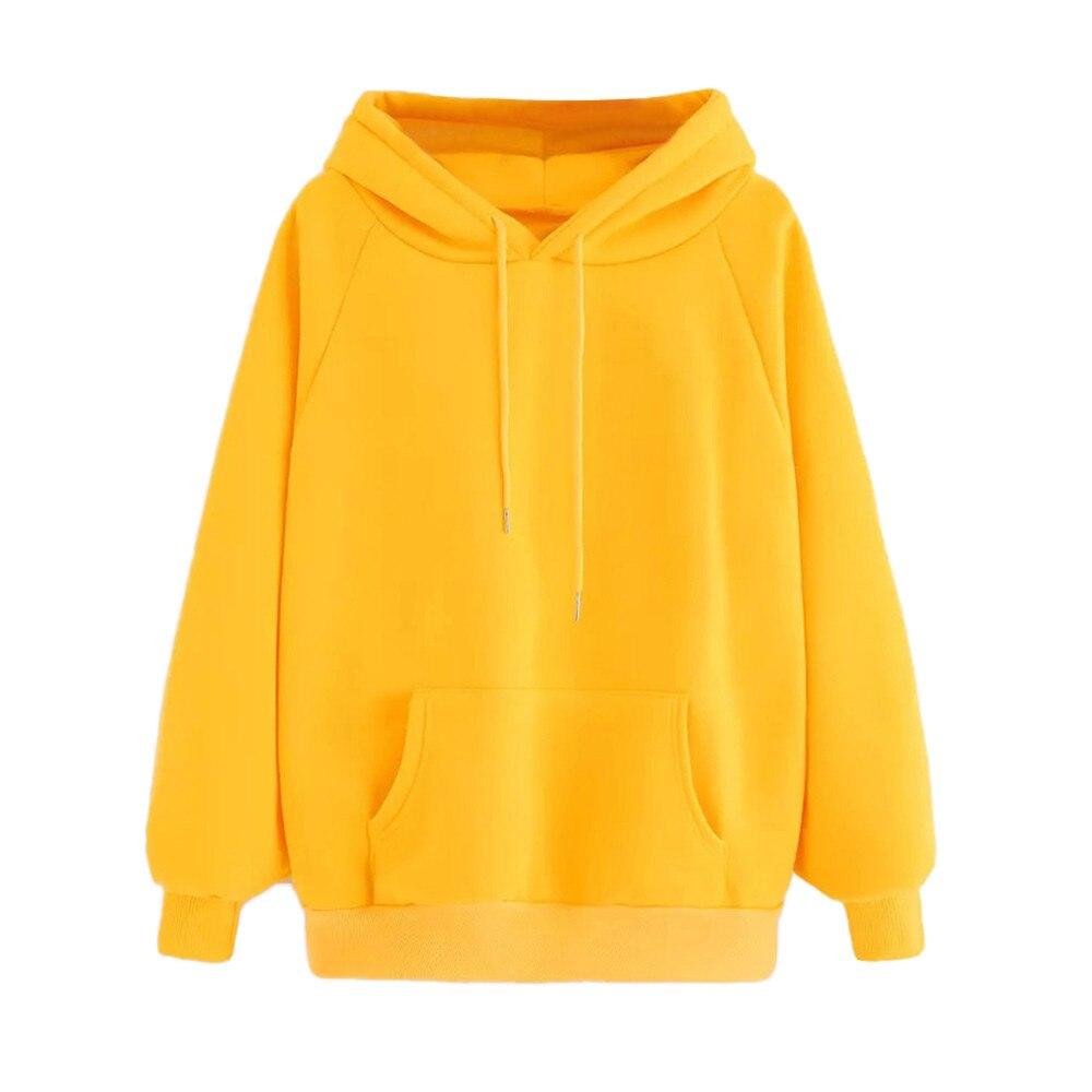 Women yellow solid Pocket Hoodie Sweatshirt