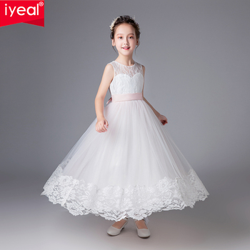 IYEAL Glitz Girls Wedding Dresses Lace Embroidery Party Ball Gown Princess Birthday Long Dress First Communion Gown for Kid Girl