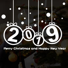 New Year 2018 Number wall sticker Merry Christmas Glass window stickers decal Home shop door sticker showcase decor sticker 2019(China)